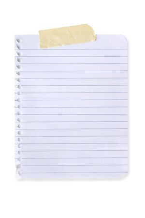 Torn page from spiral notebook, with masking tape. Stock Photo - 3340672