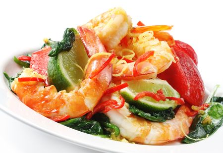 zest: Prawns grilled with spinach, bell pepper, chili, lemon zest, and lime.  Delicious healthy eating.