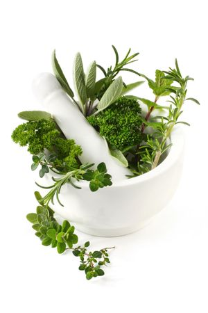 mortero: Hierbas arom�ticas frescas en un mortero de color blanco con mortero. Hierbas incluyen romero, salvia, menta, perejil, or�gano y tomillo.