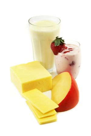 Calcium rich dairy products, including milk, yoghurt and cheeses. Stock Photo