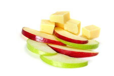 Slices of green and red apple with cubes of cheese.  Healthy snacking, against white background. Stock Photo - 3544747