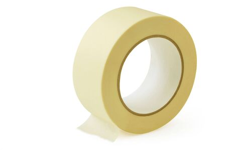masking tape: Large roll of masking or duct tape, isolated on white.