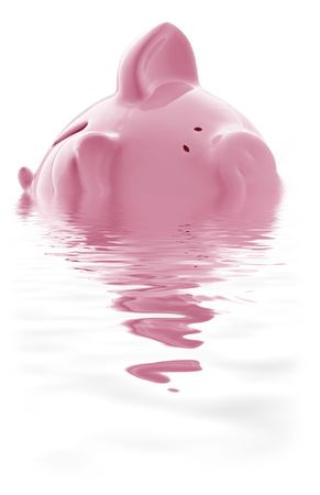 above water: Piggy bank keeping its head above water.  Or is it drowning?