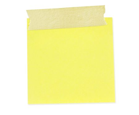 masking: Sticky yellow note with masking tape.  Clipping path included.