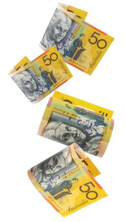 Australian fifty dollar notes, cascading down.  White background.