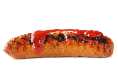 Barbecued sausage with tomato sauce.   Stock Photo - 3672513