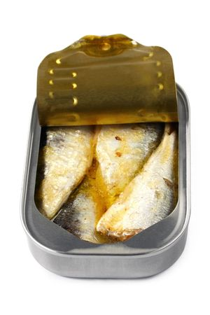 Open can of sardines, casting soft shadow on white. photo