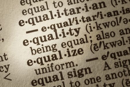 lawful: Dictionary definition of equality.  Close-up view, showing paper textures.