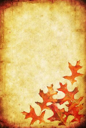 combines: Grunge background with autumn leaves, and lots of copy-space.  Combines textures of paper and stone. Stock Photo