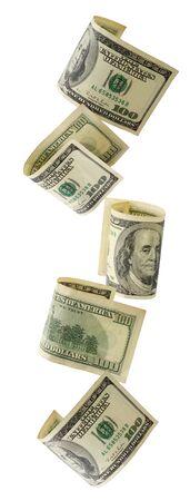 Cascading US hundred dollar bills.  XXL file.