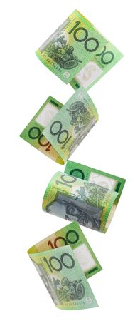 australian: Australian one hundred dollar notes cascading down.  Isolated on white.