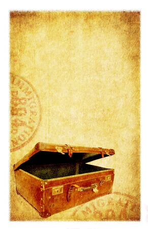 antique suitcase: Grunge travel background. Old suitcase and passport stamps, with old paper and sandstone textures.