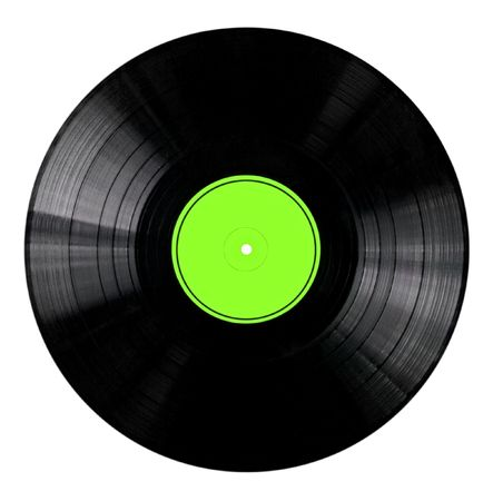 record label: Vinyl 33rpm record with yellow label.   Stock Photo