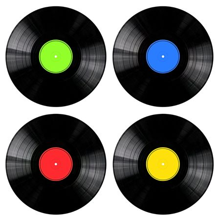 Vinyl 33rpm records with different colored labels. photo