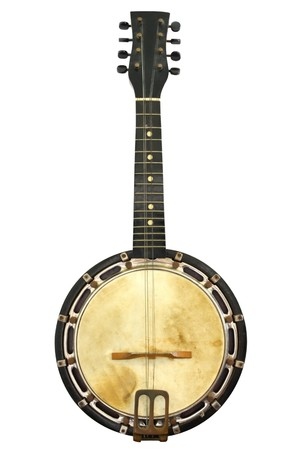 Old banjo mandolin, well isolated on white.  Early 20th century instrument, with some missing strings. photo