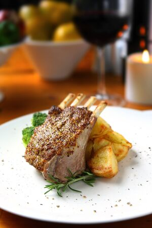 lamb chop: Rack of Lamb with roasted potatoes