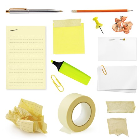 Collection of office stationery, isolated on white. photo