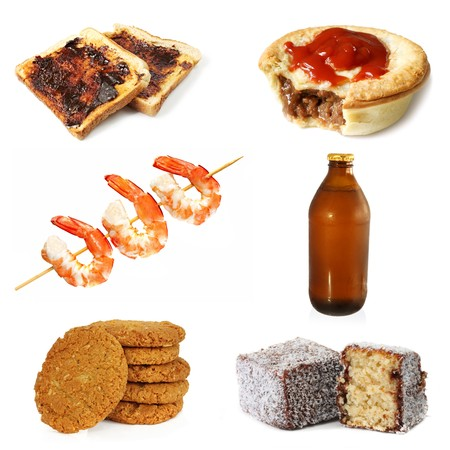 meat pie: Collection of typically Australian food, plus a stubbie of Australian beer.  Vegemite toast, meat pie and sauce, prawns, Anzac biscuits, and lamingtons.