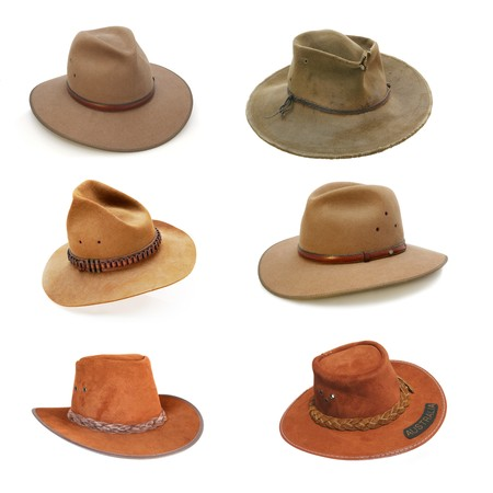 Collection of Australian bush hats, well isolated on white.  (Please see my portfolio for full-size individual images.) Stock Photo