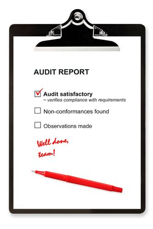 Audit report and red pen on clipboard, with Stock Photo - 4191596