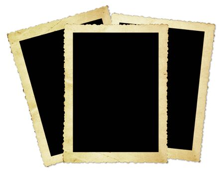scalloped: Vintage photo frames, with scalloped edges, isolated on white.