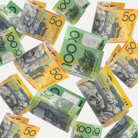 one hundred dollars: Australian money cascading down, over white background.  XXL file.