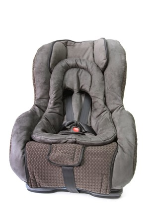 front facing: Baby car seat, isolated on white.  Suitable from birth, convertible from rear facing to front facing.