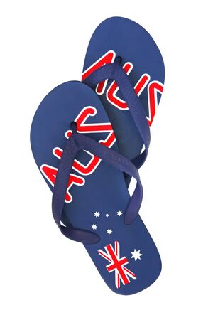 thongs: Australian thongs or flipflops, isolated on white.  Emblazoned with the Australian flag. Stock Photo