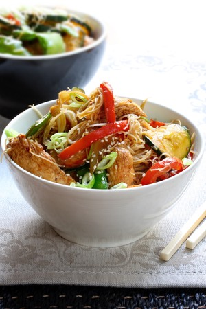 Chicken or pork stir fry with vegetables and rice noodles. photo