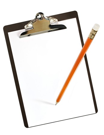 angled view: clipboard with pencil.  Angled overhead view, with lots of copy space.
