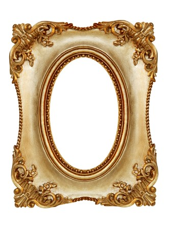 Ornate gilt picture frame, with oval opening.   Stock Photo