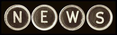 typewriter key: News spelled in vintage typewriter keys