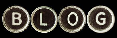 Blog spelled in vintage typewriter keys Stock Photo