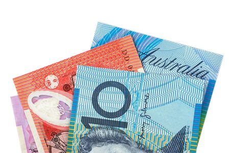 five dollar bill: Australian money fanned over a white background. Stock Photo