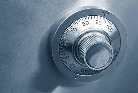 combination: Combination safe lock, in blue duotone. Stock Photo