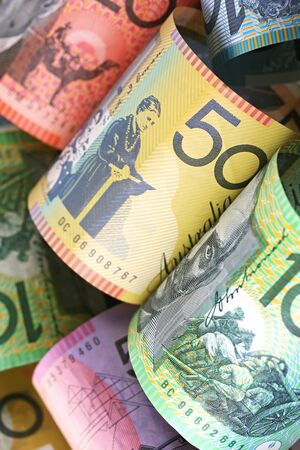 Australian money background, with focus on fifty dollar note. photo