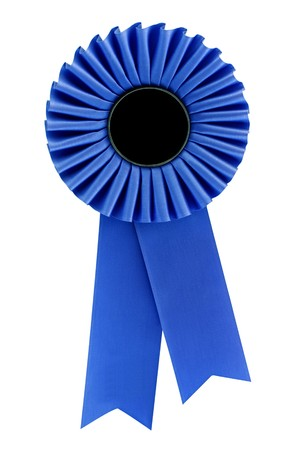 Blue rosette, isolated on white.  Ready for your message.