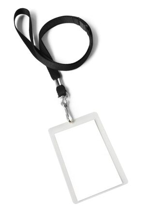id badge: Security ID pass on a black lanyard.  Isolated on white, ready for your text. Stock Photo