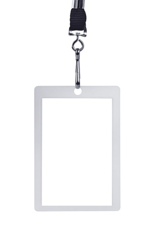 id badge: Blank security identification pass on a lanyard, isolated on white.