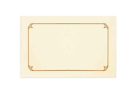 Blank card, isolated on white.  Could be a place card, name card, gift tag, thank you or invitation. Stock Photo