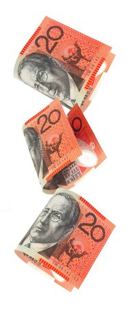 australian: Australian twenty dollar notes falling, isolated on white.