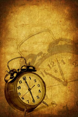 Alarm clocks over grunge background. Stock Photo - 4597187