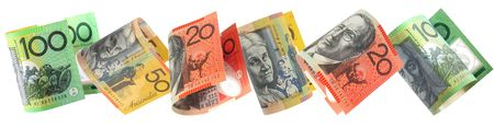 Border of Australian money, isolated on white. photo