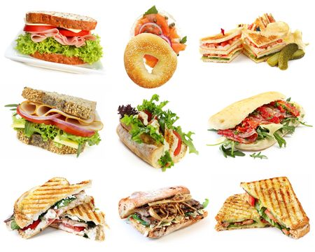 focaccia: Collection of sandwiches, isolated on white. Stock Photo