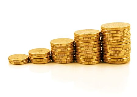 Rising currency - stacks of gold coins reflected on white, forming an upwards graph. photo