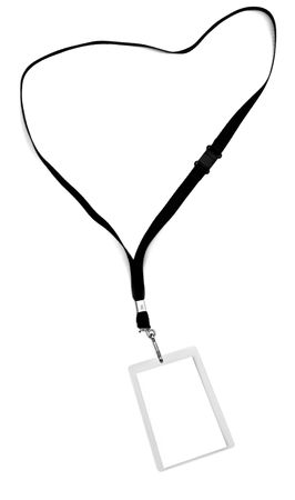 Blank security identification pass on a lanyard, isolated on white.