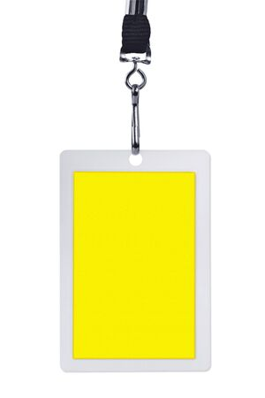 Blank yellow security identification pass on a lanyard, isolated on white. photo