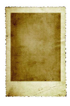 festonati: Grunge foto d'epoca con telaio scalloped bordo, isolato su bianco.