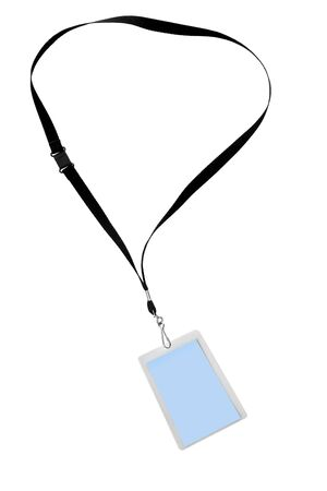 Blank security tag or identification pass, on a lanyard, isolated on white. photo