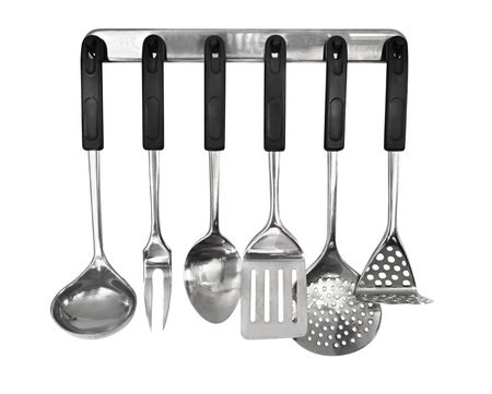 utensil: Rack of kitchen utensils, isolated on white.  Stainless steel with black handles.